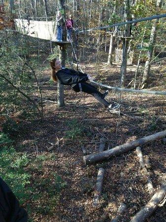 Go Ape Treetop Adventure Course: Our birthday girl on the Tarzan swing cargo net.