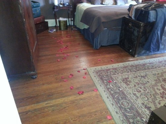 Akwaaba DC: rose petals inn keeper left for us on floor!