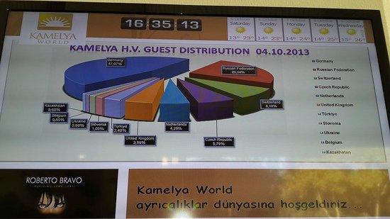 Kamelya K Club : Распределение гостей по странам