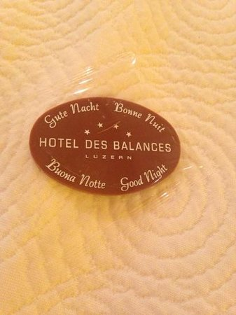 Hotel des Balances: cioccolatino della buona notte