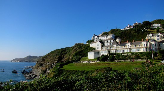 The Watersmeet Hotel and the coastline