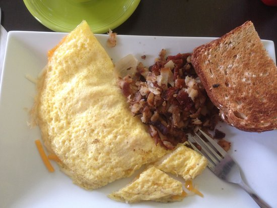 The Naked Egg: Cheese omelette, hash browns, wheat toast