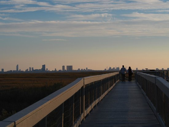 Edwin B. Forsythe National Wildlife Refuge: Walkway with view of Atlantic City in the distance