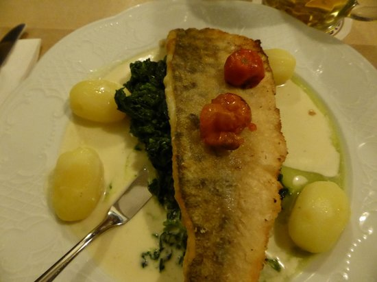 Weissbrau Huber : perch with spinach and potatoes with light cream sauce