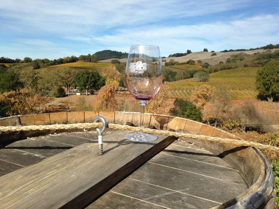 Christopher Creek Winery: my empty glass juxtoposed against the beautiful landscape