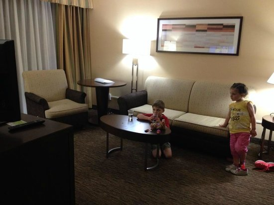 Holiday Inn Hotel & Suites Anaheim (1 BLK/Disneyland): Living room with pullout couch.