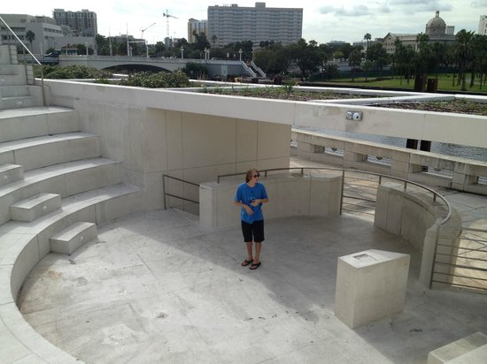 Magic Carpet Glide: Our fabulous tour guide, Dylan, in the Curtis Hixon Park Amphitheater
