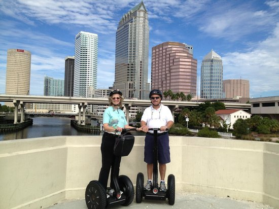 Magic Carpet Glide: Posing on the Platt Street Bridge in front of Tampa Skyline
