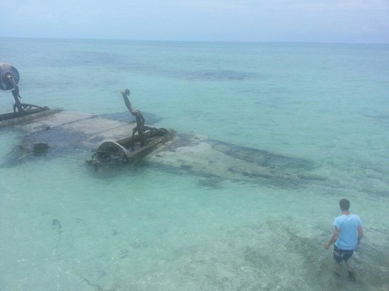 Bimini Big Game Resort and Marina: Louis Balderston and Steven Sosebee visit a plane wreck just off big game club resort Bimini Bah