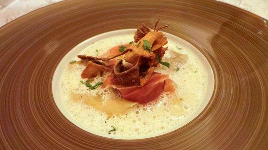 Restaurant Akashi : mushroom ravioli, ham