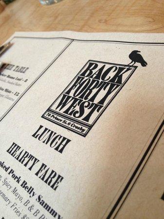 Back Forty West: La carte