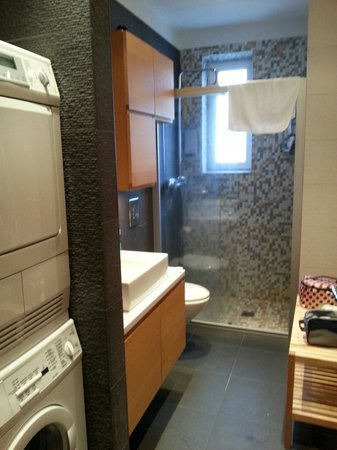 4th Floor Hotel: The bathroom in our apartment, with washing machine and tumble dryer.
