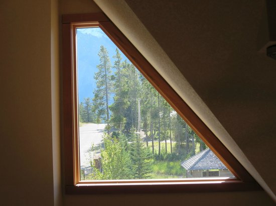 Hidden Ridge Resort: this is the window across from the loft bedroom - a clear view from outside