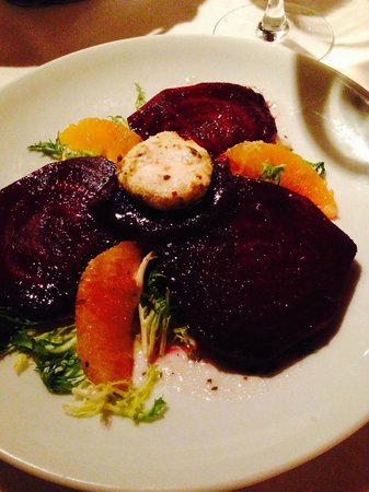 Ristorante Paoletti: Roasted Beets, Orange, Greens, Goat Cheese Salad.