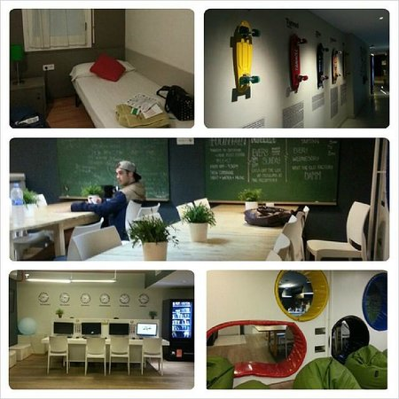 Sant Jordi Hostel Sagrada Familia: Room, entrance, kitchen and chillout areas