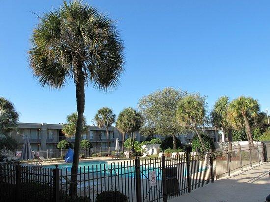 Clarion Inn & Suites : une belle cour intérieur avec piscine