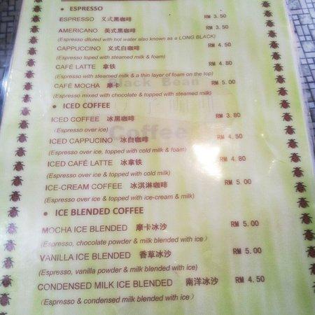 Black Bean : menu