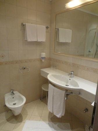 Parkhotel Matrei: 洗面所兼トイレ(兼シャワーブース)