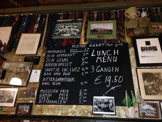 Bierhandel De Pijp: menu