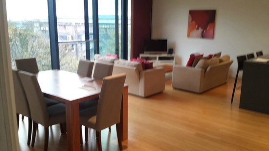 Scotia Grand Residence - Quartermile Apartments: main lounge view biy 25 foot x 15 foot