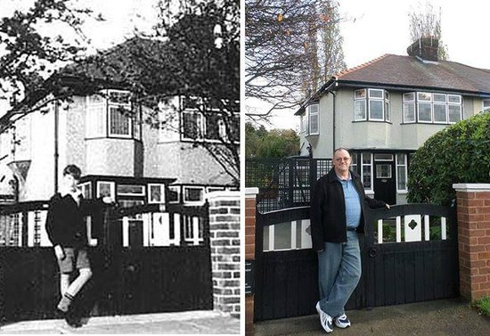 Jackie Spencer - BeatleGuide: A photo of young John Lennon in front of his Aunt Mimi's house and a pic of me in the same setti