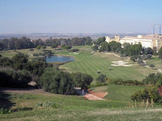Barcelo Montecastillo Golf: View from the 18th Tee with the hotel on the left.