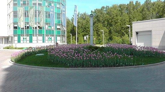 SkyPoint Sheremetyevo Hotel : Клумба тюльпанов на территории отеля