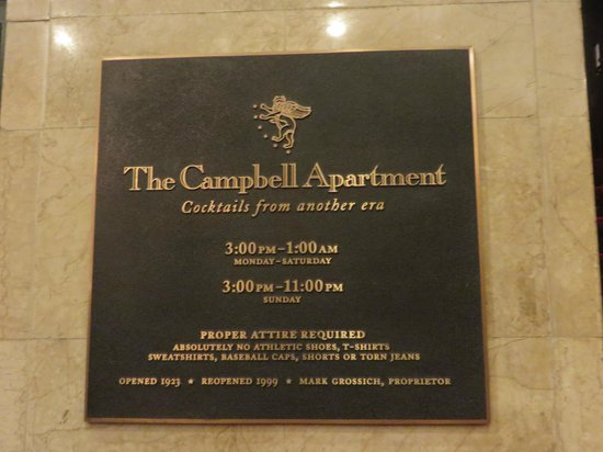 Campbell Apartment Restaurant The Sign