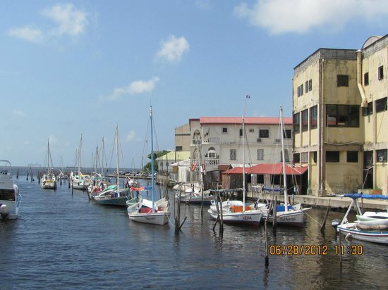 Belize Tourism Village: The marina & seawall abodes....rest of city is dilapidated