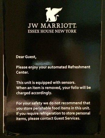 JW Marriott Essex House New York : Refridgerator unavailable for guest use.
