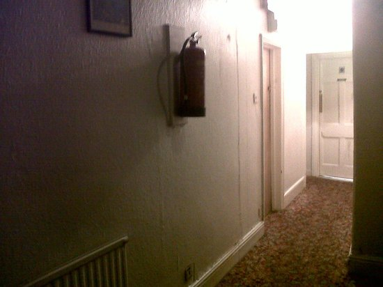Commercial Hotel : Fire extinguisher really high above the floor.