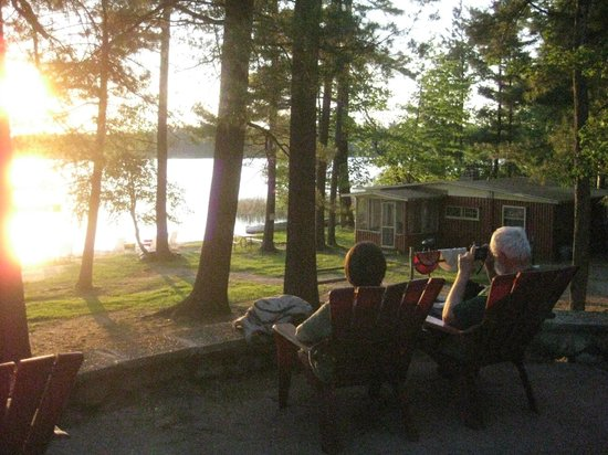 Watching sunset on Lake Thompson, east of Rhinelander Wisconsin