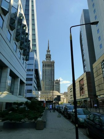 Mercure Warszawa Centrum: Hotel on the left, mall on the right.