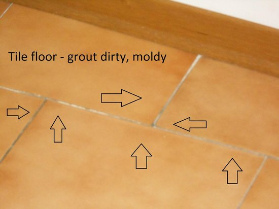 Hotel Albion: Room conditions - Dirt & mildew in floor tile grout