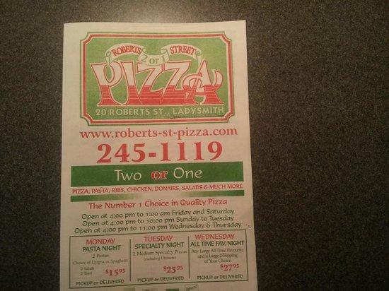 Roberts Street Pizza: Menu cover