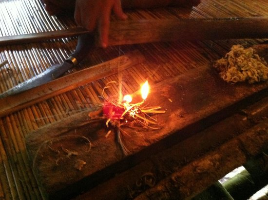 Mari Mari Cultural Village: Flame produced after a successful fire-making by a Rungus