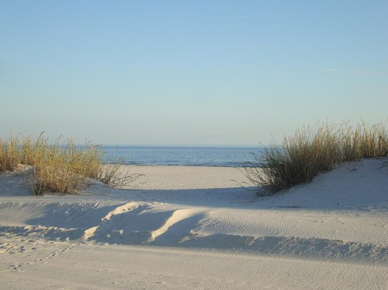 Cajun RV Park: The beach is located directly across Hwy 90 in front of the RV Park.