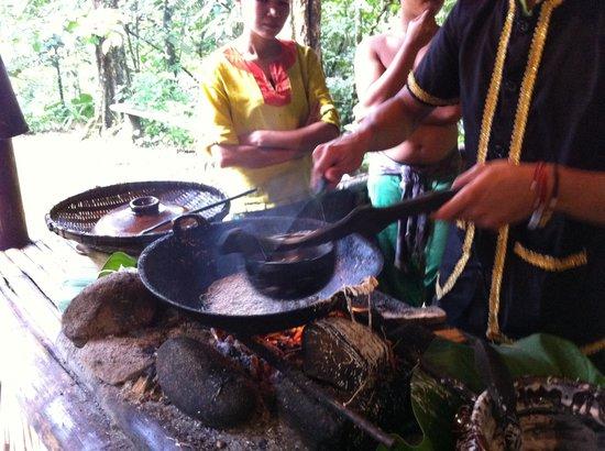 Mari Mari Cultural Village: Kuih jala(local cookies)-cooking demonstration