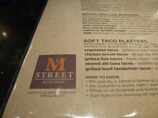 M Street Kitchen : menu