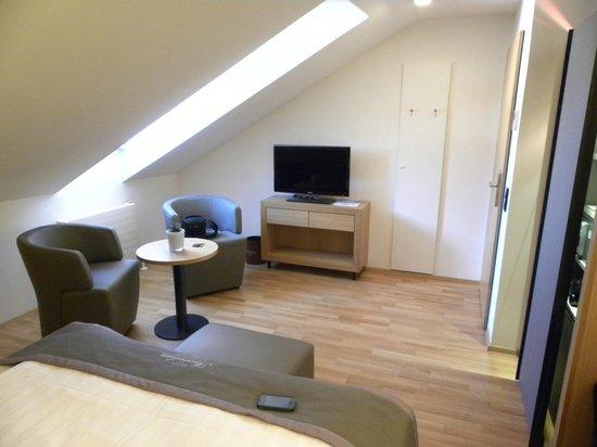 Hotel Maximilian: Sitting area and t.v.
