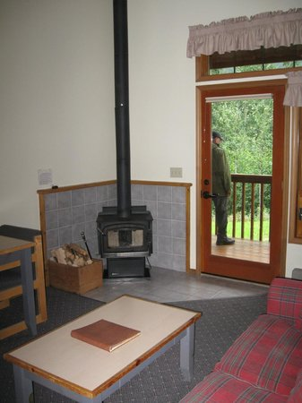 Kenai Princess Wilderness Lodge : Woodstove, deck at Kenai Princess