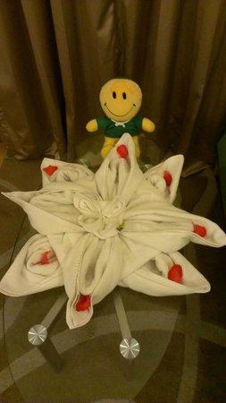 Lemon Tree Premier, HITEC City : Room - Towel flower and stuffed animal from housekeepers