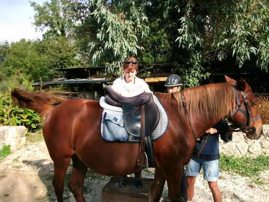 Trailriders Horse Trekking: me getting ready to ride Rio