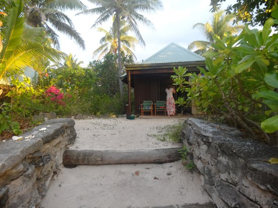 Navini Island Resort: view up the beach to our bure