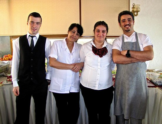 Nena Hotel: At your service:  Batuhan, Ezgi, Emma & Ilhan (chef)