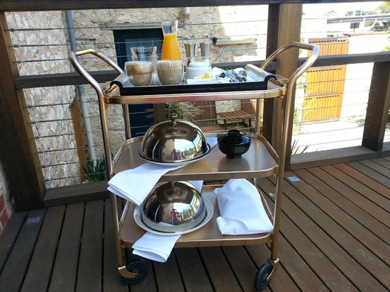 The Australasian: Breakfast trolley on the deck of the Garden Suite