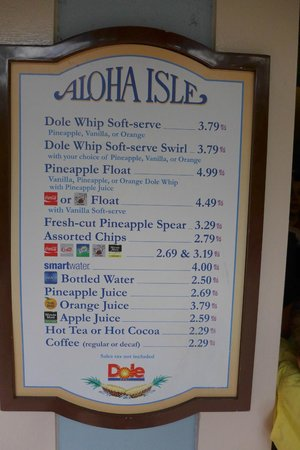 Aloha Isle at Magic Kingdom: Menu