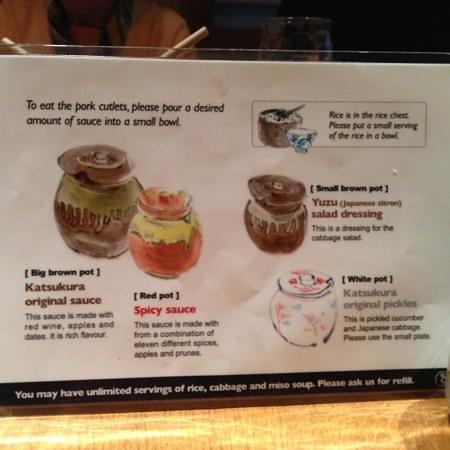 Katsukura, Kyoto Station Bldg The Cube: Sauce menu
