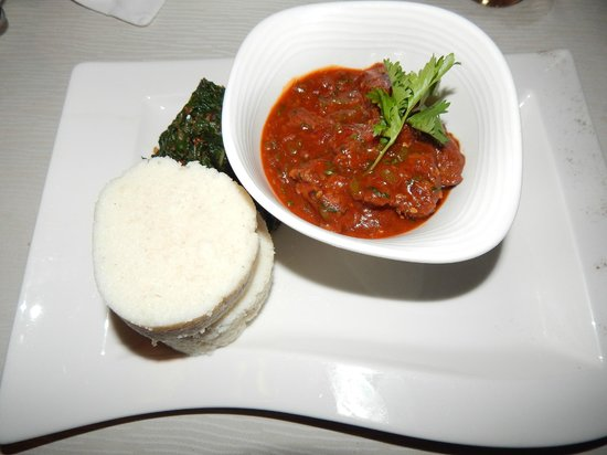 Ocean Beach Resort & Spa : Traditional beef stew, ugali and sauteed spinach. Yum!