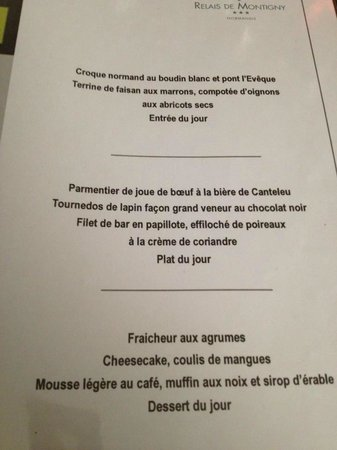 Le Relais de Montigny : Menu compris dans formule WekkenDesk